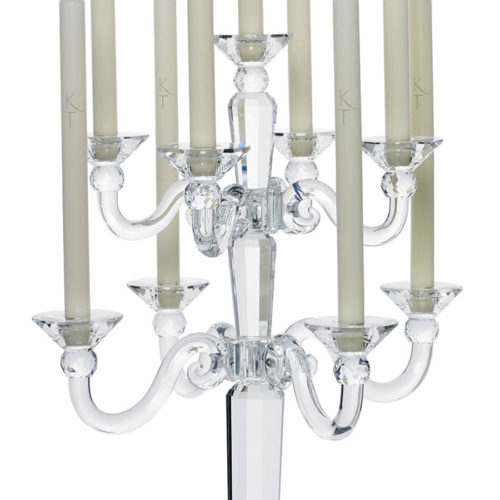 Large 9 Piece Crystal Candelabra-0
