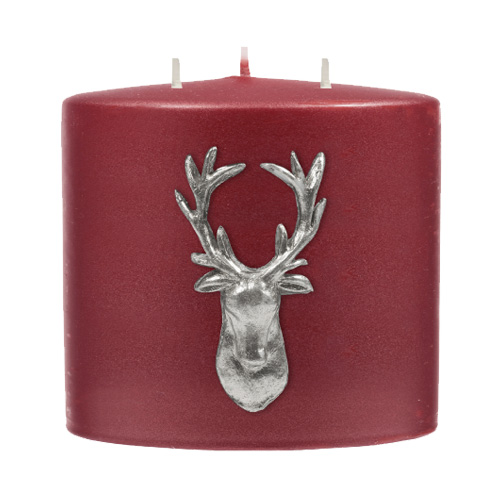 Stag Double Headed Candle - Berry Red / Silver-0