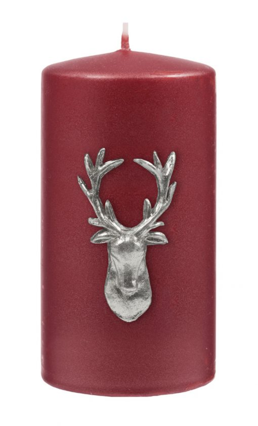 Stag Pillar Candle - Berry Red / Silver-0