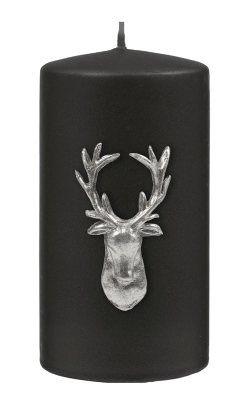 Stag Pillar Candle - Black / Silver-0