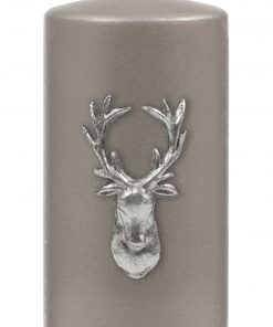 Stag Pillar Candle - Gunmetal Grey / Silver-0