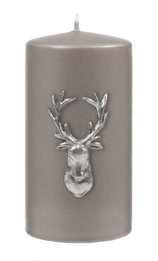 Stag Pillar Candle - Gunmetal Grey / Silver-0