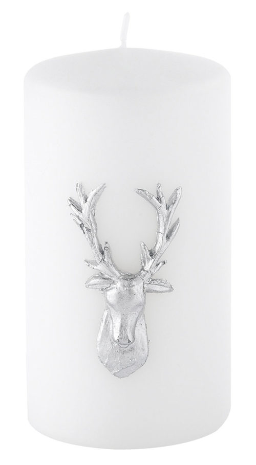 Stag Pillar Candle - Pearlised White / Silver-0