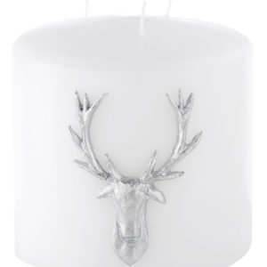 Stag Double Headed Candle - White / Silver-0